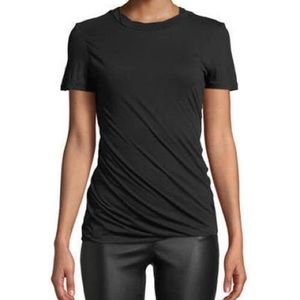 Theory Black Twisted Draped Crewneck Tee P XS